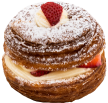 Mag's cronut with strawberries and cream cheese