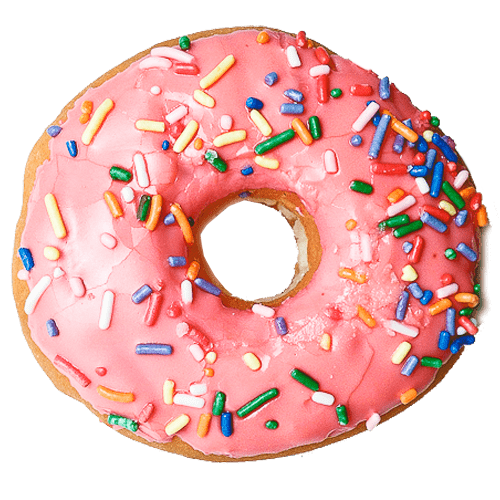 irvine donut with pink icing and sprinkles